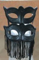 Pair of Tassle Fringed Masks on Sticks